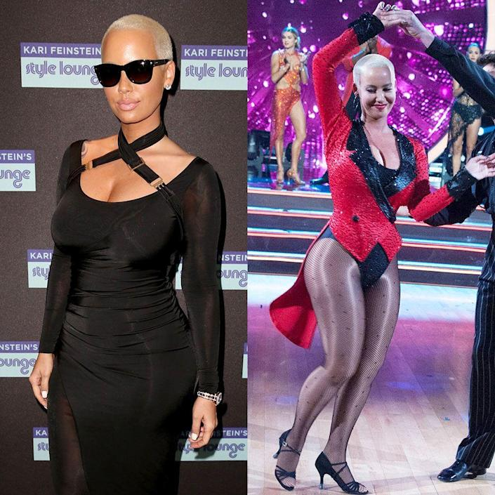 """<p>It didn't take long for the model to notice the physical benefits of joining the <em>DWTS </em>cast during season 21 in 2016. """"I feel like I'm getting super toned,"""" she explained on her <a href=""""https://www.stitcher.com/podcast/entercom/loveline-with-amber-rose/e/48044186"""" rel=""""nofollow noopener"""" target=""""_blank"""" data-ylk=""""slk:Loveline With Amber Rose"""" class=""""link rapid-noclick-resp"""">Loveline With Amber Rose</a> podcast. """"I feel like I've lost probably 10 lbs., maybe 8 lbs. already. It's serious."""" Amber says she worked with her partner Maksim Chmerkovskiy four to five hours a day.</p>"""