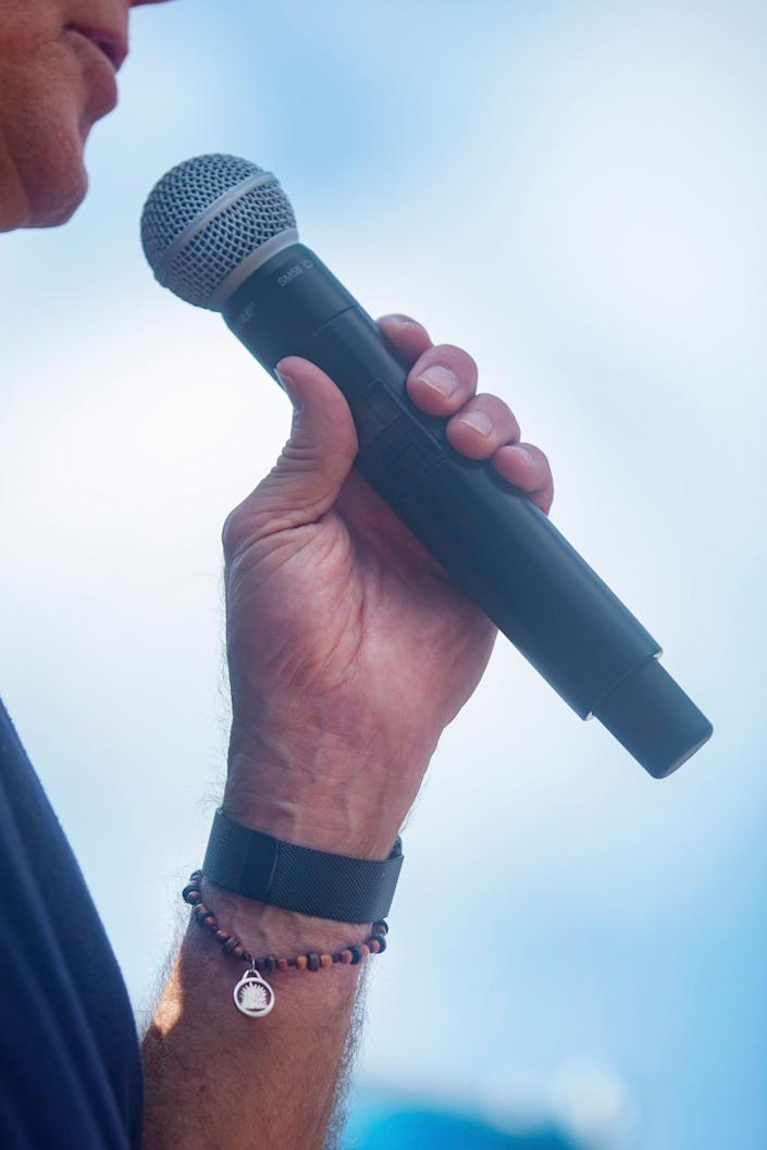 2020 Democratic presidential candidate Joe Biden wears a beaded bracelet during his speech at the Iowa State Fair on August 8, 2019.