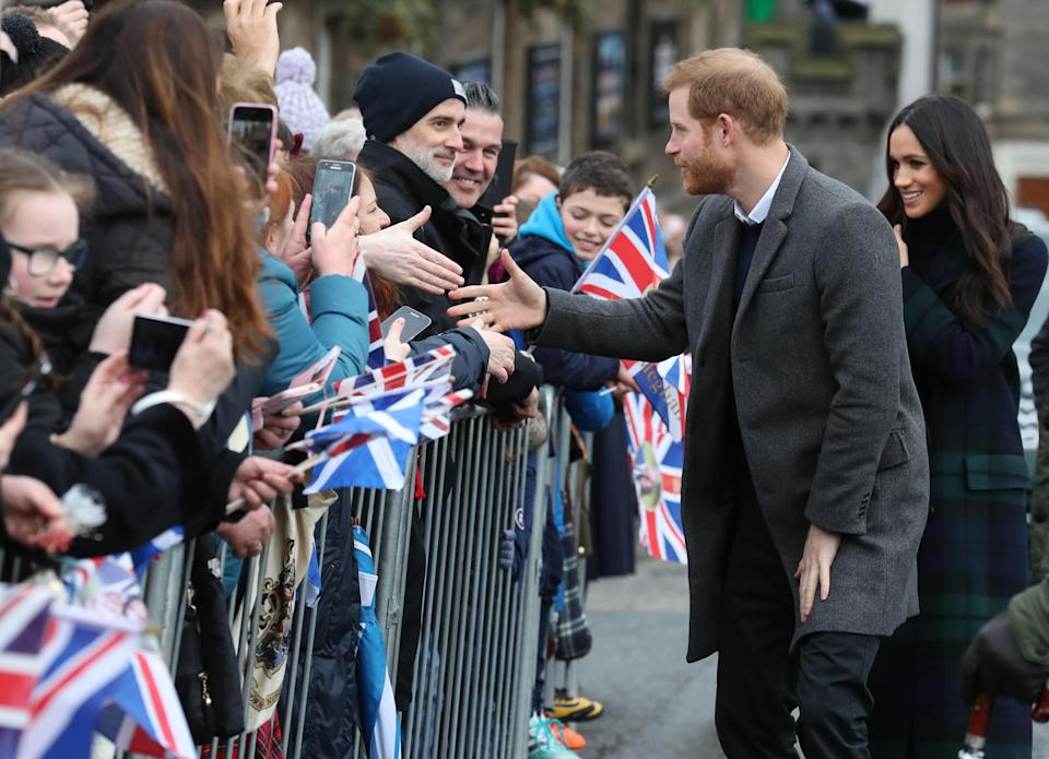 Harry and Meghan during a walkabout in Edinburgh (PA)