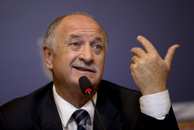 Brazil's soccer coach Luiz Felipe Scolari speaks at a press conference presenting him as Brazil's new coach, in Rio de Janeiro, Brazil, Thursday, Nov. 29, 2012. Scolari is returning to the national team 10 years after leading the country to the 2002 World Cup title. (AP Photo/Silvia Izquierdo)