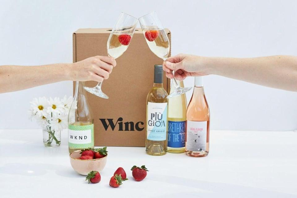 "<h3><strong>Winc</strong> </h3><br><strong>What You Get</strong><br>Shipments curated to personal palate profiles with recommendations of uniquely sourced and trendy bottles from the company's California-based winery.<br><br><strong>What You Commit To</strong><br>A flexible monthly subscription — can skip a shipment or cancel membership at any time.<br><br><strong>What You Pay</strong><br>Monthly shipments start at $59.95 for four bottles ($13 per bottle) delivered each month but are adjustable for more or less depending upon specific wines' price ranges. You'll get $20 off your first order. Shipping costs included.<br><br><em>Visit <a href=""https://www.winc.com/"" rel=""nofollow noopener"" target=""_blank"" data-ylk=""slk:Winc"" class=""link rapid-noclick-resp""><strong>Winc</strong></a></em>"