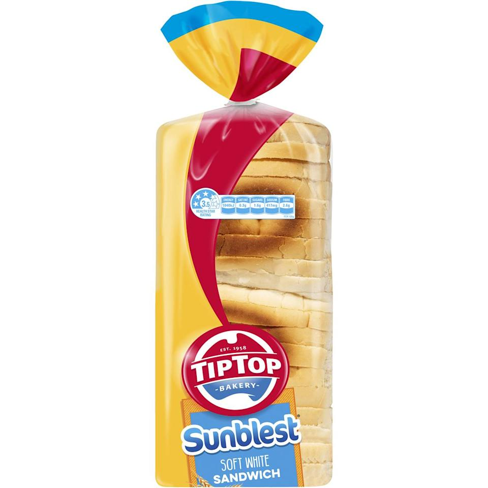 IImage of Tip Top bread as they change from plastic bread tags to recyclable