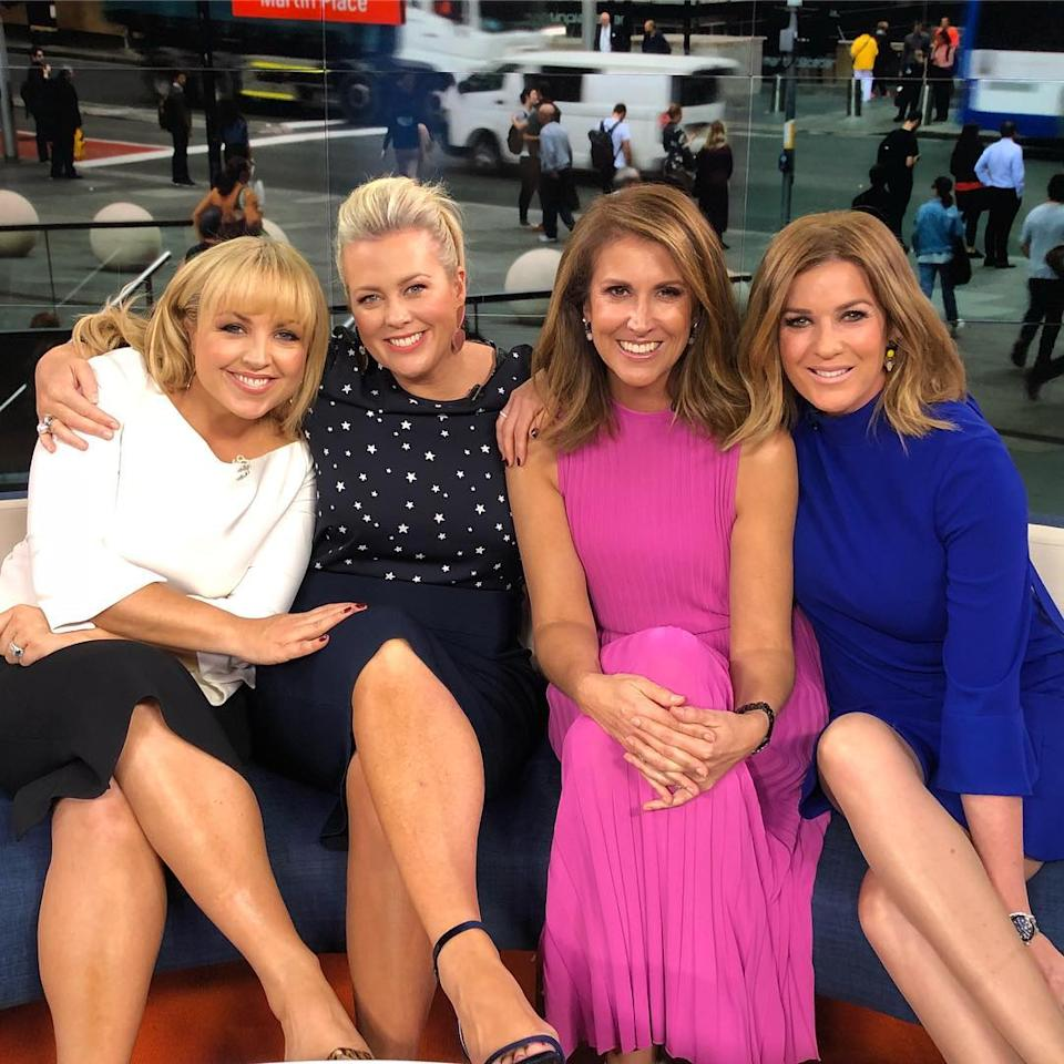 Monique Wright with Samantha Armytage, Nat Barr and Kylie Gillies on Sunrise