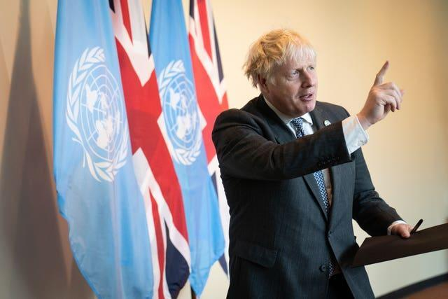 Prime Minister Boris Johnson addresses the media at the United Nations General Assembly