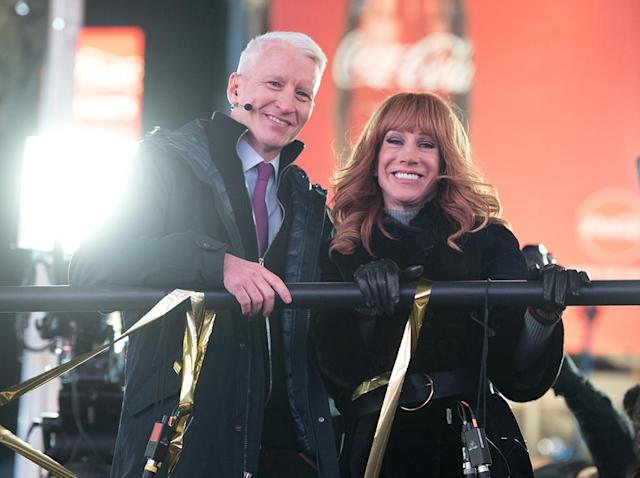 Anderson Cooper and Kathy Griffin in happier times, co-hosting CNN's <em>New Year's Eve Live</em> on Dec. 31, 2016. (Photo: Noam Galai/FilmMagic)