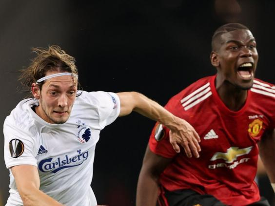Pogba reacts in frustration against Copenhagen (POOL/AFP)