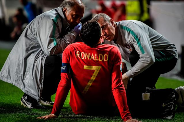 "<a class=""link rapid-noclick-resp"" href=""/soccer/teams/juventus/"" data-ylk=""slk:Juventus"">Juventus</a> is holding its breath after Cristiano Ronaldo had to be substituted off following an injury in Euro 2020 qualifying. (Getty)"