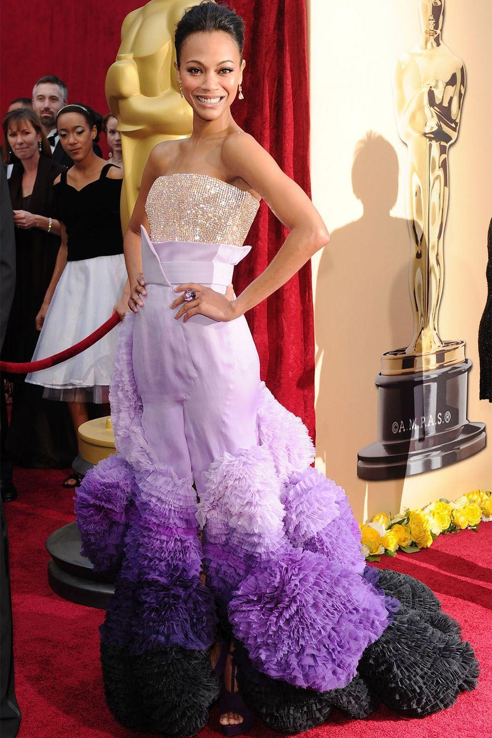 <p>More was more for Zoe Saldana at the 2010 Oscars where she wore this Givenchy Haute Couture with crystal embellished bodice with an ombre tulle ruffled skirt. </p>
