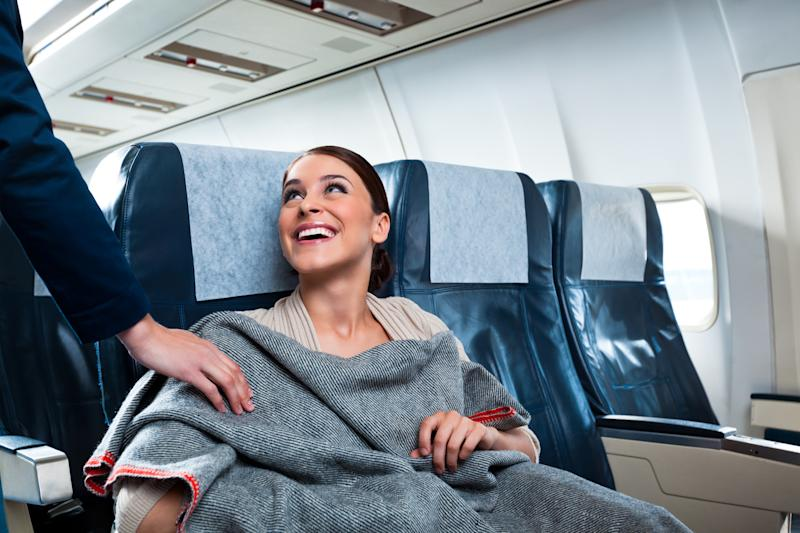 We all love a free blanket or two, but sometimes the free finds on a plane are a little less comfortable. Photo: Getty Images
