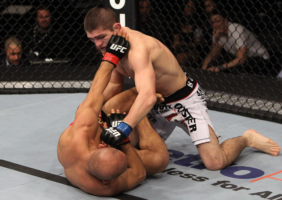 Khabib Nurmagomedov punches Kamal Shalorus during the UFC on FX event at Bridgestone Arena on Jan. 20, 2012 in Nashville, Tennessee. (Getty Images)