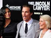 Camila Alves with Matthew McConaughey and his mother Kay McConaughey. The Lincoln Lawyer premiere held at the ArcLight Cinemas Cinerama Dome. 10 March 2011, Hollywood, CA. Photo Credit: Giulio Marcocchi/Sipa Press./LincolnLawyer_gm.106/1103110811