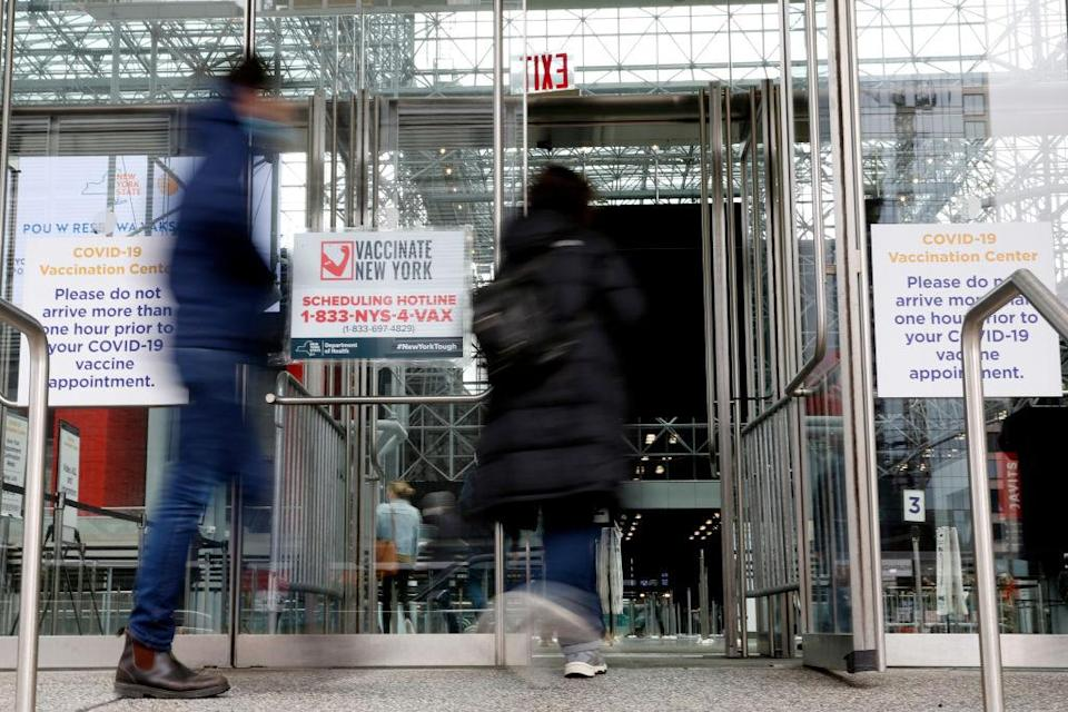 NYC Residents Go To The Javits Center For A Covid-19 Vaccination
