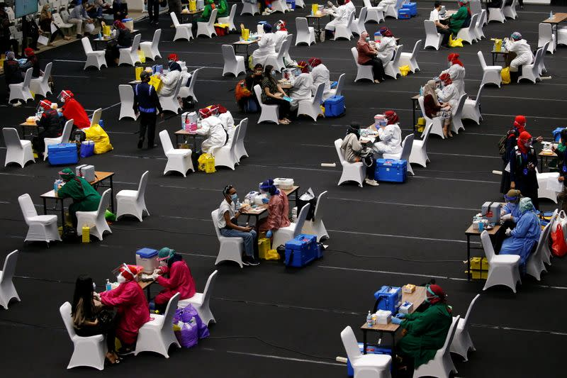Mass vaccination at the Istora Senayan stadium in Jakarta