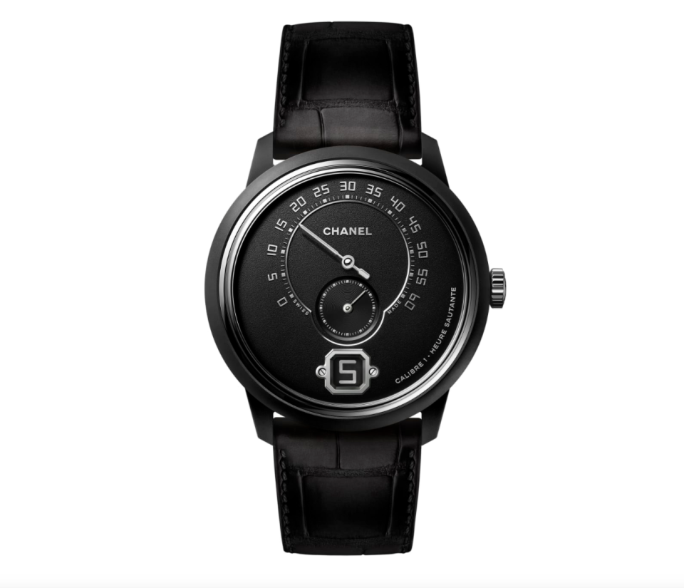 """<p><strong>Chanel</strong></p><p><a href=""""https://go.redirectingat.com?id=74968X1596630&url=https%3A%2F%2Fwww.chanel.com%2Fus%2Fwatches%2Fp%2FH7415%2Fmonsieur-black-edition-watch%2F&sref=https%3A%2F%2Fwww.townandcountrymag.com%2Fstyle%2Fjewelry-and-watches%2Fg14418271%2Fbest-mens-luxury-watches%2F"""" rel=""""nofollow noopener"""" target=""""_blank"""" data-ylk=""""slk:Shop Now"""" class=""""link rapid-noclick-resp"""">Shop Now</a></p><p>This matte black ceramic and steel watch is sophisticated and subtle. </p><p>Case size: 42 mm</p>"""