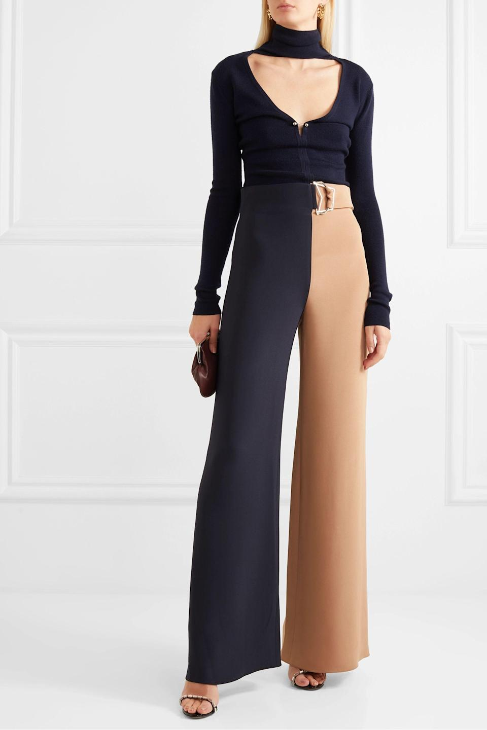 """<p><strong>Cushnie</strong></p><p>net-a-porter.com</p><p><strong>$696.50</strong></p><p><a href=""""https://go.redirectingat.com?id=74968X1596630&url=https%3A%2F%2Fwww.net-a-porter.com%2Fen-us%2Fshop%2Fproduct%2Fcushnie%2Fbelted-two-tone-silk-crepe-wide-leg-pants%2F1205666&sref=https%3A%2F%2Fwww.cosmopolitan.com%2Fstyle-beauty%2Ffashion%2Fg30933395%2Ffall-fashion-trends-2020%2F"""" rel=""""nofollow noopener"""" target=""""_blank"""" data-ylk=""""slk:Shop Now"""" class=""""link rapid-noclick-resp"""">Shop Now</a></p><p>Your coworkers and your boss will be impressed when you walk into the office wearing these.</p>"""