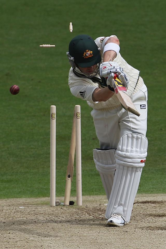 LEEDS, ENGLAND - JULY 21:  Michael Clarke of Australia is bowled by Umar Gul of Pakistan during day one of the 2nd Test between Pakistan and Australia played at Headingley Carnegie Stadium on July 21, 2010 in Leeds, England.  (Photo by Hamish Blair/Getty Images)