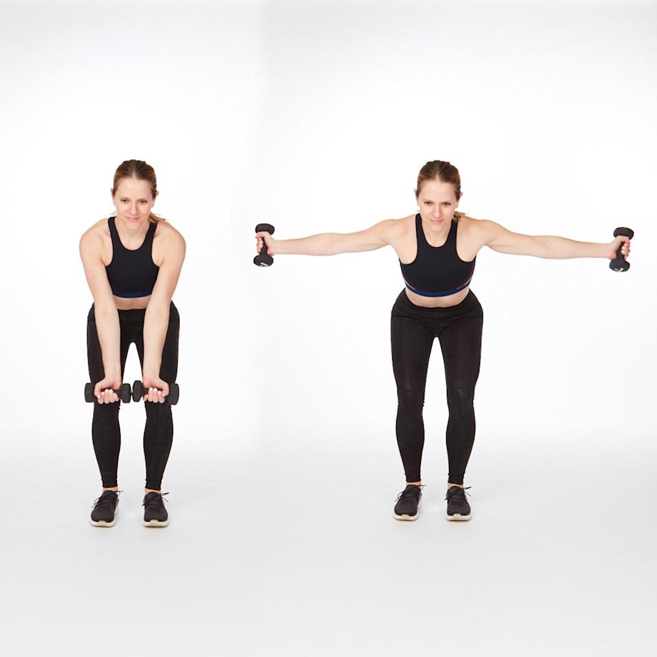 """<p>This at-home back exercise proves that <a href=""""https://www.shape.com/fitness/tips/when-use-heavy-weights-vs-light-weights"""" target=""""_blank"""">you don't need huge weights</a> to make some huge strength gains.</p> <ul><li>Grab a pair of light-weight dumbbells and stand with feet hip-width apart.</li> <li>Take a slight bend in knees as you shift hips back and lower torso until it's parallel to the floor.</li> <li>Bring weights together and turn palms to face forward.</li> <li>Keeping arms straight, lift weights up to shoulder height then lower back down. (Make sure to keep core and glutes engaged the entire time.)</li> </ul><p><strong>Do 15 reps.</strong></p>"""