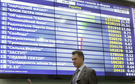 Mykhaylo Okhendovsky, head of the Ukrainian Central Election Commission, walks past a screen displaying the partial results of the parliamentary election at the commission's headquarters in Kiev October 27, 2014. REUTERS/Valentyn Ogirenko