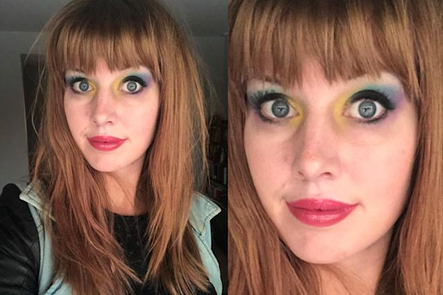 For Debbie Gale Mitchell, a chemistry professor at University of Denver, a lesson plan is also an opportunity for a unique beauty look. (Photo: heydebigale via Twitter)