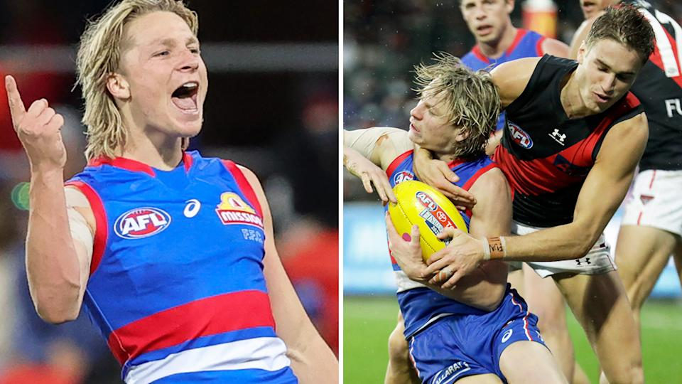 Western Bulldogs small forward Cody Weightman dealt with a barrage of abusive comments from Essendon fans with the help of injured teammate Josh Bruce. Pictures: Getty Images