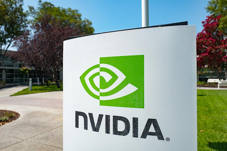 Signage with logo at the Silicon Valley headquarters of computer graphics hardware company Nvidia, Santa Clara, California, August 17, 2017. (Photo via Smith Collection/Gado/Getty Images).
