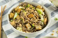 """<p>Make this favorite Asian takeout dish at home in only 30 minutes. Prepare the peanut sauce ahead of time to make sure the flavors bloom. Enjoy this dish on its own or serve with marinated tofu on top.</p> <p><a href=""""https://www.thedailymeal.com/cold-peanut-sesame-noodles-0-recipe?referrer=yahoo&category=beauty_food&include_utm=1&utm_medium=referral&utm_source=yahoo&utm_campaign=feed"""" rel=""""nofollow noopener"""" target=""""_blank"""" data-ylk=""""slk:For the Sesame Noodles With Spicy Peanut Sauce recipe, click here."""" class=""""link rapid-noclick-resp"""">For the Sesame Noodles With Spicy Peanut Sauce recipe, click here.</a></p>"""
