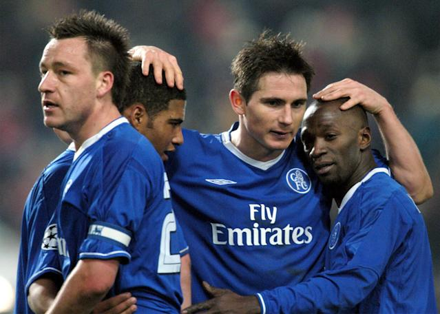 John Terry, Glen Johnsen, Frank Lampard and Claude Makelele in 2004. (AP Photo/Ferdinand Ostrop)