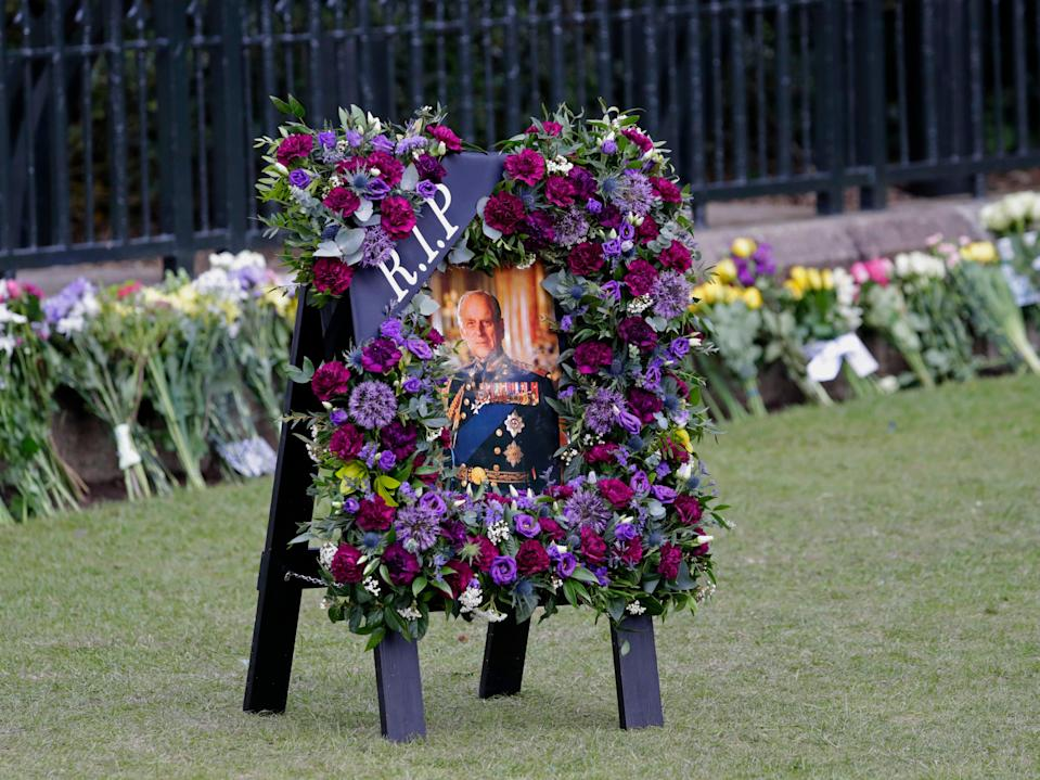 Tributes to Prince Philip have gathered outside Windsor Castle following his death last Friday (Getty Images)