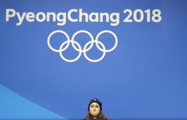 Medals Ceremony - Alpine Skiing - Pyeongchang 2018 Winter Olympics - Women's Downhill - Medals Plaza - Pyeongchang, South Korea - February 21, 2018 - Gold medalist Sofia Goggia of Italy on the podium. REUTERS/Eric Gaillard