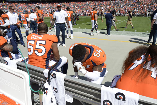 <p>Brandon Marshall (54) of the Denver Broncos after the National Anthem of the game against the Seattle Seahawks. The Denver Broncos hosted the Seattle Seahawks at Broncos Stadium at Mile High in Denver, Colorado on Sunday, September 9, 2018. (Photo by Andy Cross/The Denver Post) </p>