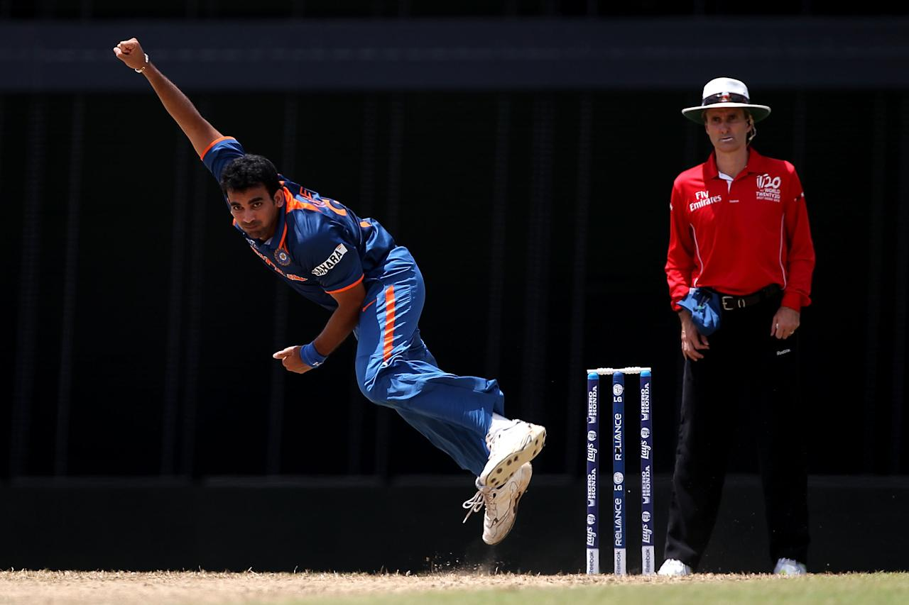 BRIDGETOWN, BARBADOS - MAY 07:  Zaheer Khan of India bowls a delivery during the ICC World Twenty20 Super Eight match between Australia and India at the Kensington Oval on May 7, 2010 in Bridgetown, Barbados.  (Photo by Clive Rose/Getty Images)