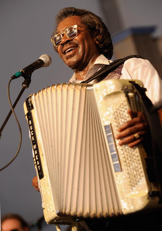 NEW ORLEANS, LA - APRIL 27:  New Orleans musical legend Buckwheat Zydeco performs during the 2012 New Orleans Jazz & Heritage Festival Presented by Shell at the Fair Grounds Race Course on April 27, 2012 in New Orleans, Louisiana.  (Photo by Rick Diamond/Getty Images)