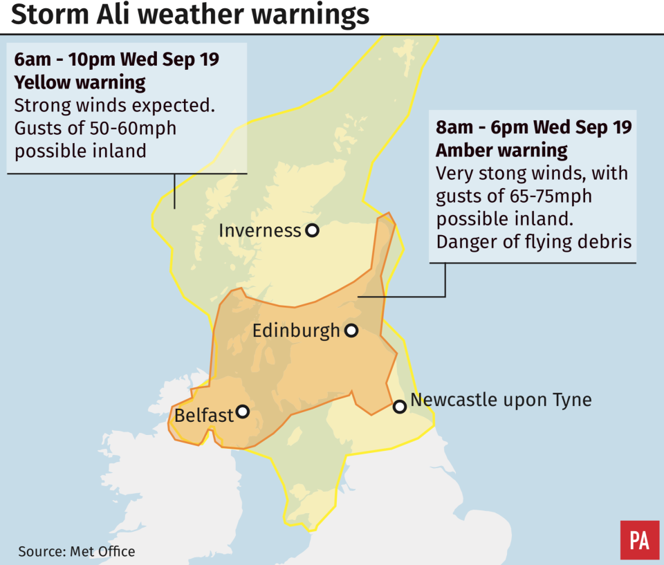 The Met Office has issued weather warnings during Storm Ali (PA)