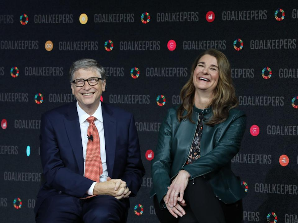 Bill Gates and his wife Melinda Gates speak at the Lincoln Centre in 2018Getty Images