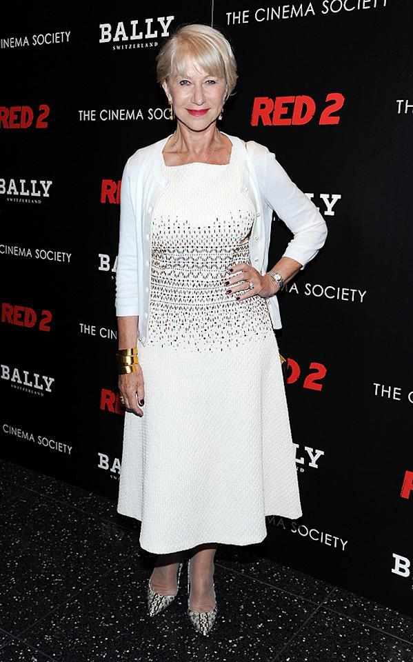 "NEW YORK, NY - JULY 16:  Actress Helen Mirren attends The Cinema Society And Bally Host A Screening Of Summit Entertainment's ""Red 2"" at The Museum of Modern Art on July 16, 2013 in New York City.  (Photo by Ilya S. Savenok/FilmMagic)"