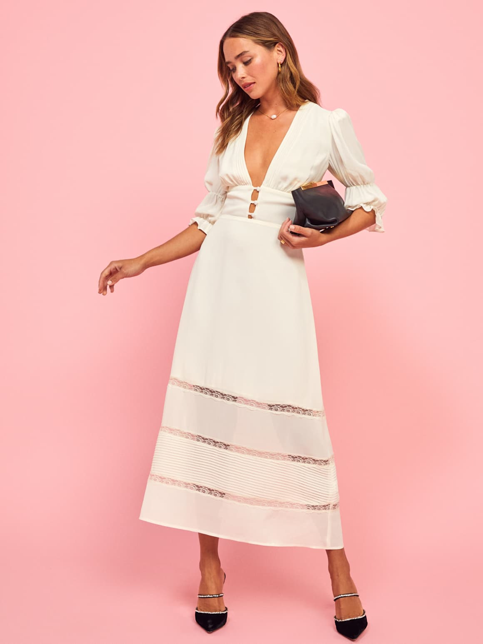 """<h2><a href=""""https://www.thereformation.com/categories/brides"""" rel=""""nofollow noopener"""" target=""""_blank"""" data-ylk=""""slk:Reformation"""" class=""""link rapid-noclick-resp"""">Reformation</a></h2><br>For those looking for a sustainable wedding dress, Reformation also designs bridal looks. The styles lean more boho, and feature the same low-cut, high-slit styles that we've come to expect from the popular brand.<br>"""