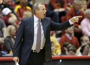 Texas coach Rick Barnes yells to his players during a game against Iowa State. (AP)
