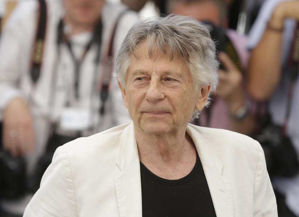 Director Roman Polanski poses for photographers during the photo call for the film Based On A True Story at the 70th international film festival, Cannes, southern France, Saturday, May 27, 2017.(AP Photo/Alastair Grant)