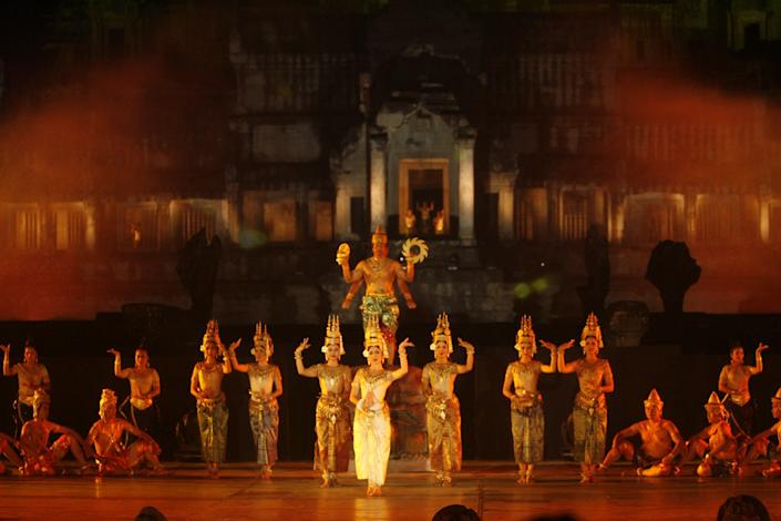 An elaborate Apsara Dance Performance at Angkor Wat.