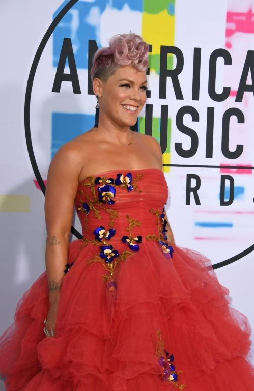 Singer Pink arrives at the 2017 American Music Awards