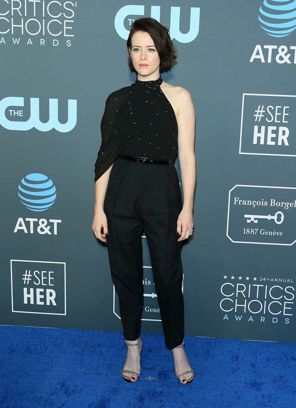 <p>Claire Foy wearing Celine by Hedi Slimane and Ana Khouri jewels.</p>