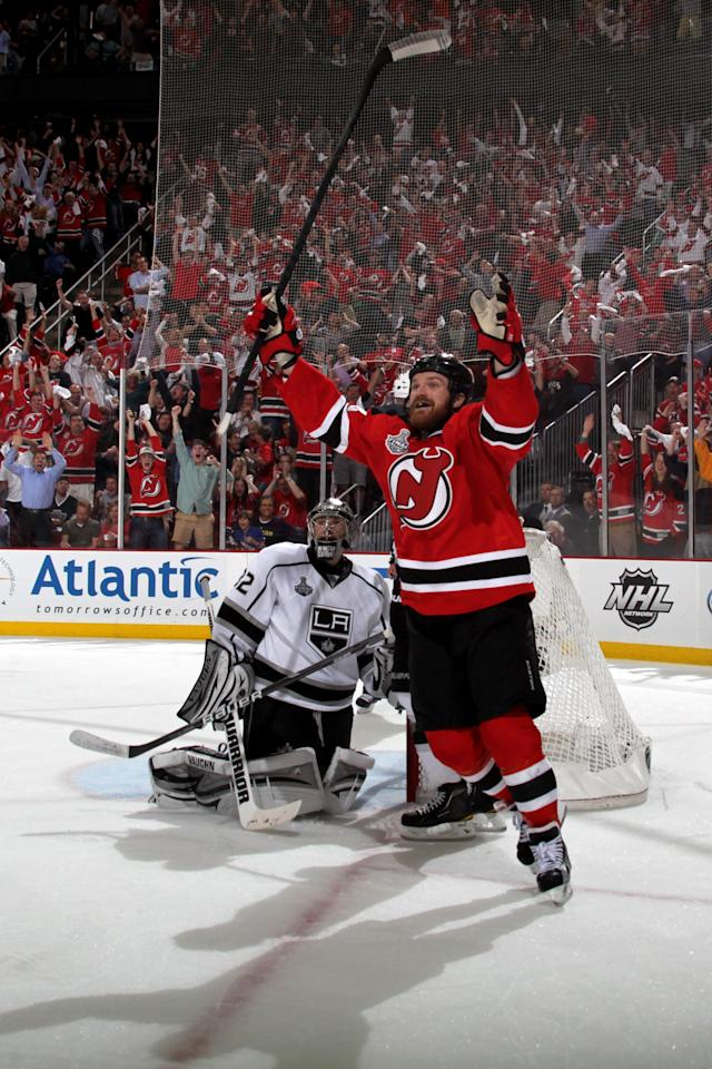 NEWARK, NJ - MAY 30: David Clarkson #23 of the New Jersey Devils celebrates after Anton Volchenkov #28 (not pictured) scores in the second period against Jonathan Quick #32 of the Los Angeles Kings during Game One of the 2012 NHL Stanley Cup Final at the Prudential Center on May 30, 2012 in Newark, New Jersey.  (Photo by Bruce Bennett/Getty Images)