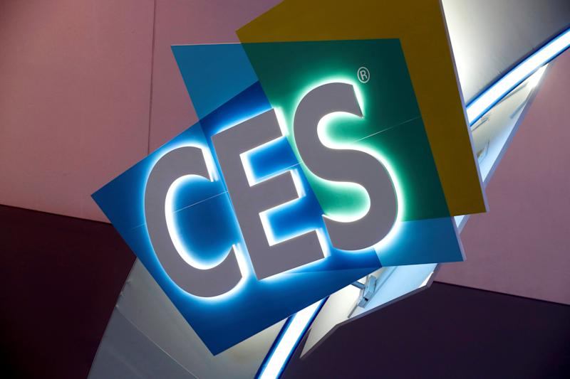 The CES logo is shown at the Las Vegas Convention Center as workers prepare for 2019 CES in Las Vegas, Nevada, U.S. January 6, 2019. REUTERS/Steve Marcus