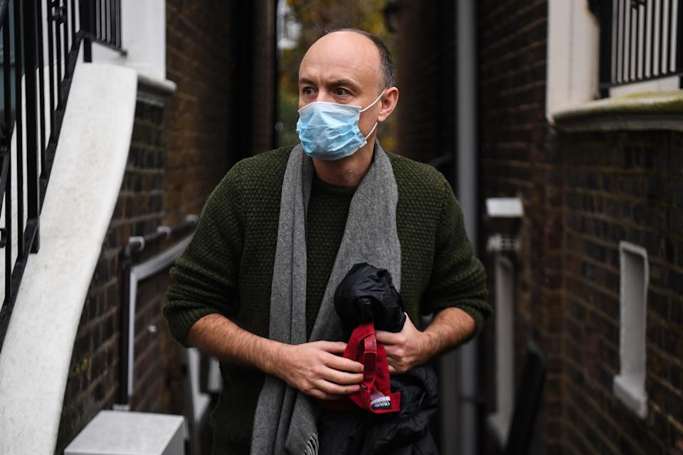 Dominic Cummings outside his north London home after he resigned from his role as Prime Minister Boris Johnson's top aide, following director of communications Lee Cain. Both will continue to work for the Prime Minister and Downing Street until mid-December.