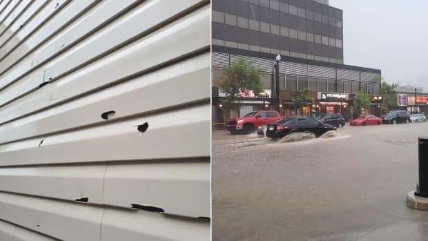 Hail damaged homes and vehicles and Calgary roads were flooded as a Friday thunderstorm rolled into the city, pushing emergency crews to their limit. (Sarah Rieger/CBC, Submitted by Bryn Welter - image credit)