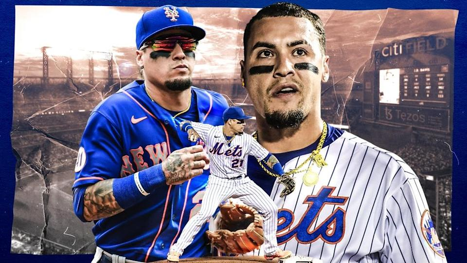 Javier Baez treated image, three different images, including throwing in foreground
