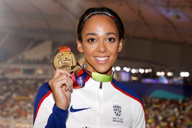Johnson-Thompson with her Gold medal for the heptathlon during the 2019 IAAF World Championships (Photo: Martin Rickett - PA Images via Getty Images)