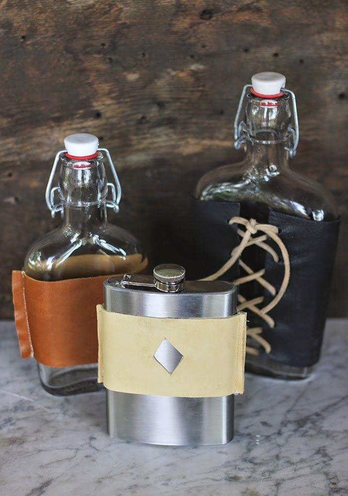"""<p>Gift this DIY along with a bottle of his favorite booze. </p><p><a href=""""http://www.poppytalk.com/2014/06/diy-leather-flask-cover.html"""" rel=""""nofollow noopener"""" target=""""_blank"""" data-ylk=""""slk:Get the tutorial."""" class=""""link rapid-noclick-resp"""">Get the tutorial.</a></p>"""