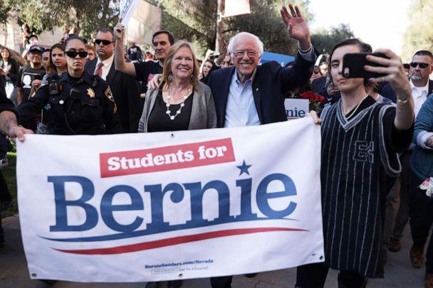 PHOTO: LAS VEGAS, NEVADA - FEBRUARY 18: Democratic presidential candidate Sen. Bernie Sanders (I-VT) and his wife Jane Sanders participate in a march after a campaign rally at University of Nevada February 18, 2020 in Las Vegas, Nevada. (Alex Wong/Getty Images)