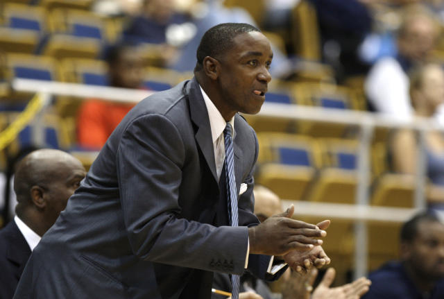 In this Nov. 4, 2009, photo, Forida International coach Isiah Thomas yells from the sideline during an exhibition college basketball game against Northwood in Miami. Thomas and his team won't be home again until Dec. 31. An eight-game stretch of road contests awaits, including a game at Florida State on Dec. 6, and the Sun Belt Conference opening swing to Denver and North Texas in the week before Christmas. (AP Photo/Lynne Sladky)